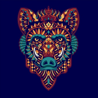 Colorful wild boar illustration, mandala zentangle and tshirt design
