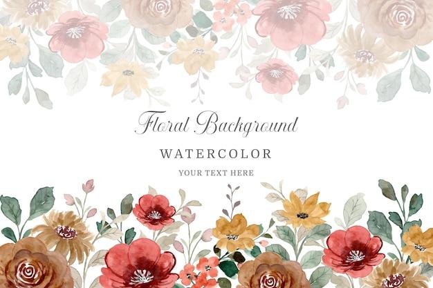 다채로운 야생 꽃 테두리 수채화 꽃 템플릿