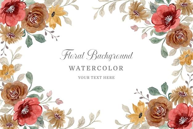 다채로운 야생 꽃 프레임 수채화 꽃 템플릿