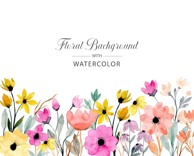 Colorful wild floral watercolor background