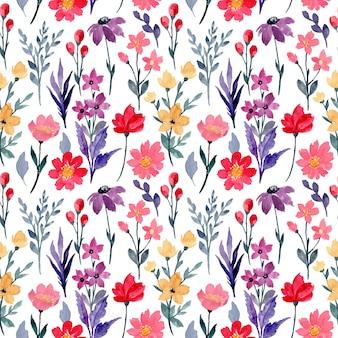다채로운 야생 꽃 수채화 원활한 패턴