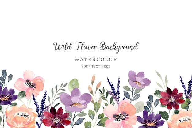수채화와 다채로운 야생화 배경
