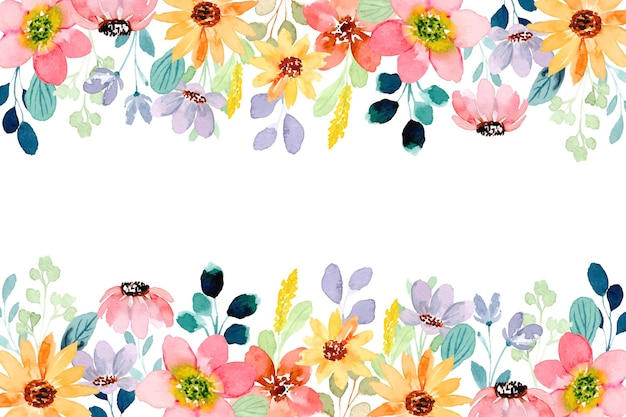 Colorful wild flower background with watercolor