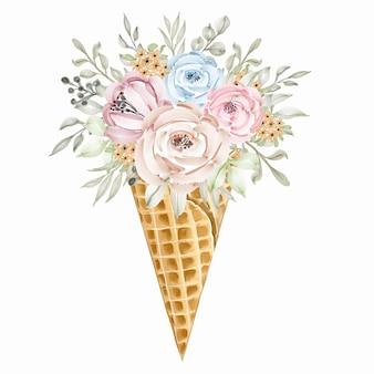 다채로운 야생 꽃 꽃다발 아이스크림 콘, 녹색 잎, 봄 장식 개념.