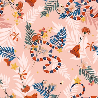 Colorful wild forest in seamless pattern vector with snake