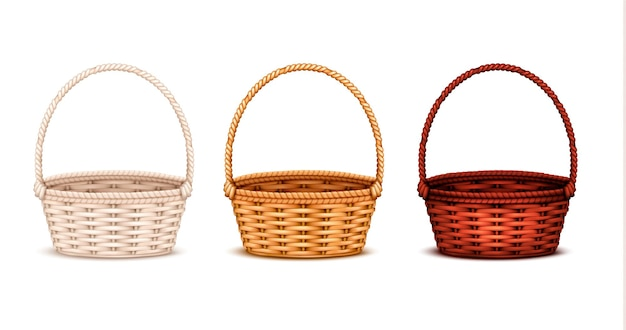 Colorful willow wicker baskets set of white natural and dark stained wood 3 realistic isolated   illustration