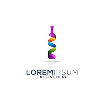 Colorful wine bottle logo design