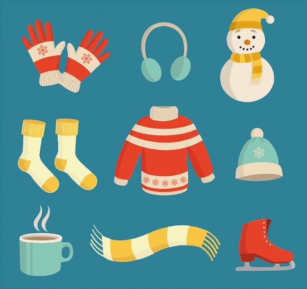 Набор красочных зимних предметов первой необходимости на синем фоне