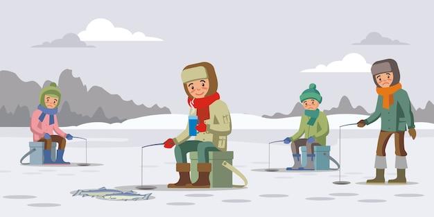 Красочная зимняя рыбалка концепция