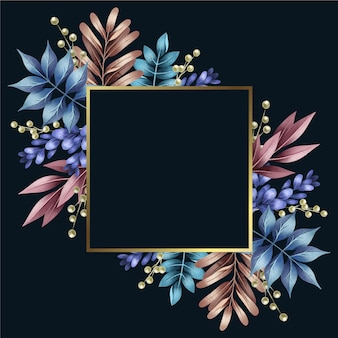 Colorful winter flowers with golden frame