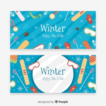 Colorful winter sport banner