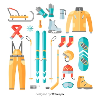 Colorful winter sport equipment collection