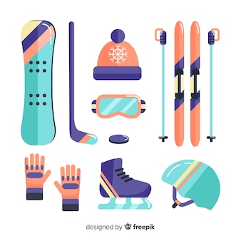 Colorful winter sport equipment pack