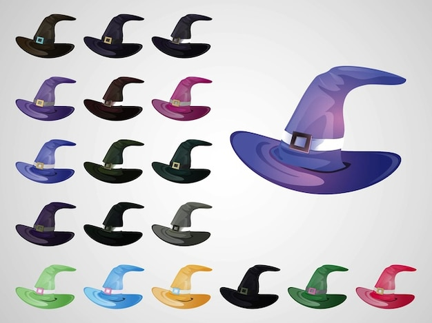 Colorful witch hats vector icons