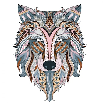 Colorful wolf ethnic head