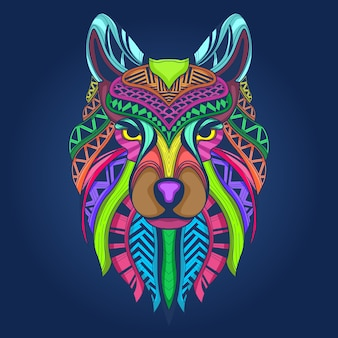 Colorful wolf face