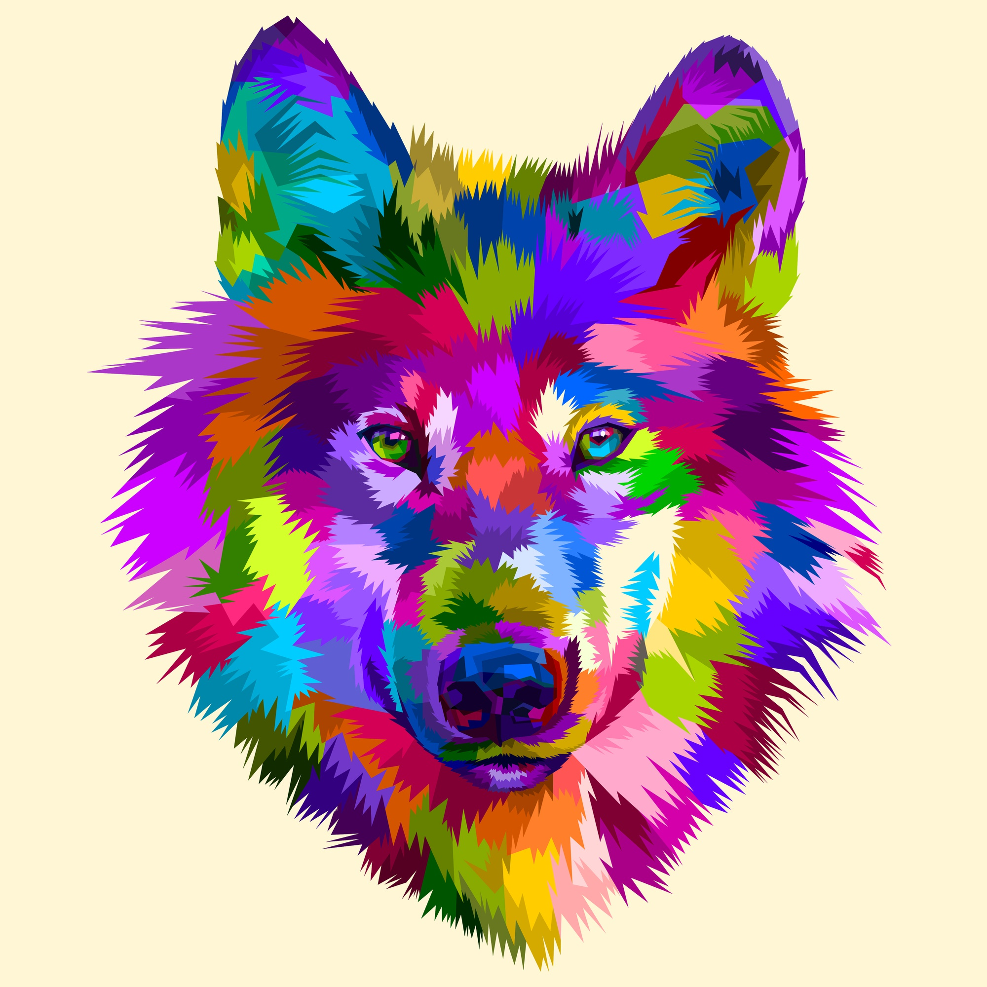 Colorful wolf head icon on pop art style