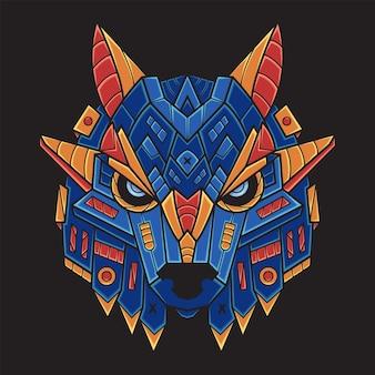 Красочные иллюстрации головы волка