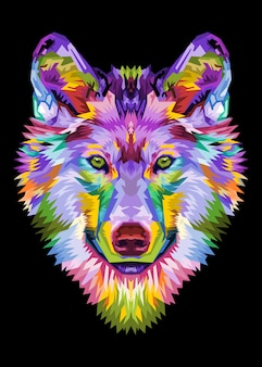 Colorful wolf head on pop art style.illustration.