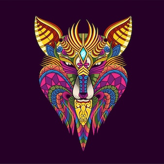 Красочная иллюстрация волка, мандала zentangle и дизайн футболки