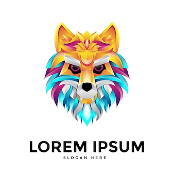 Colorful wolf logo template in flat design