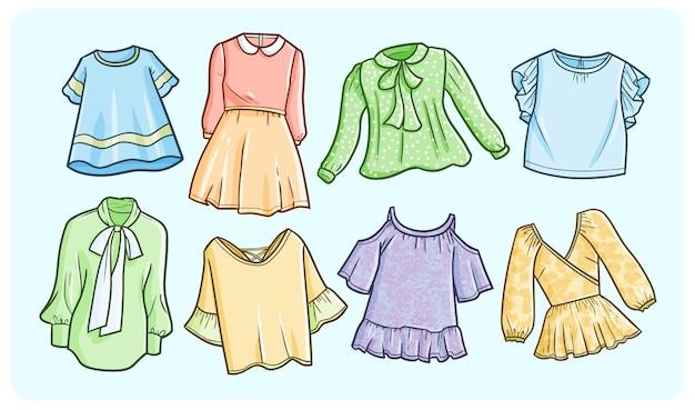シンプルな落書きスタイルのカラフルな女性のドレスコレクション