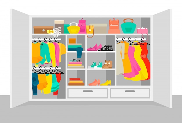 Colorful woman wardrobe elements concept