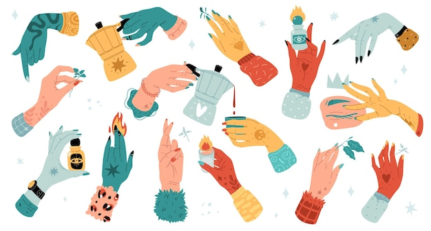 カラフルな女性の手漫画フラットトレンディなグラフィック