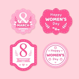Colorful women's day label collection
