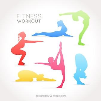 Colorful women's silhouettes doing stretching