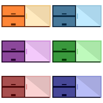 Colorful wooden cabinets with shelves element icon game asset flat illustration