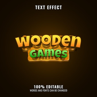 Colorful wooden game logo title text effect