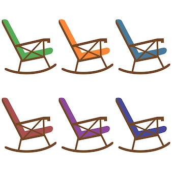 Colorful wooden rocking chair element icon game asset flat illustration
