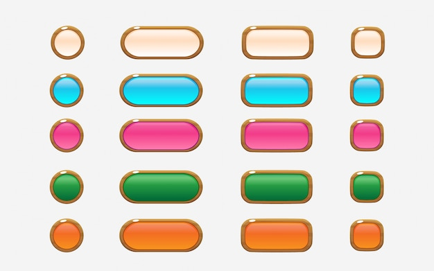 Colorful wooden style user interface buttons