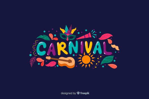 Colorful word brazilian carnival background