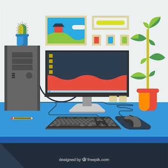 Colorful workspace background