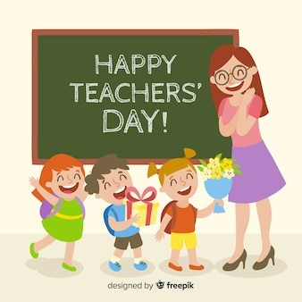 Colorful world teachers' day composition with flat design
