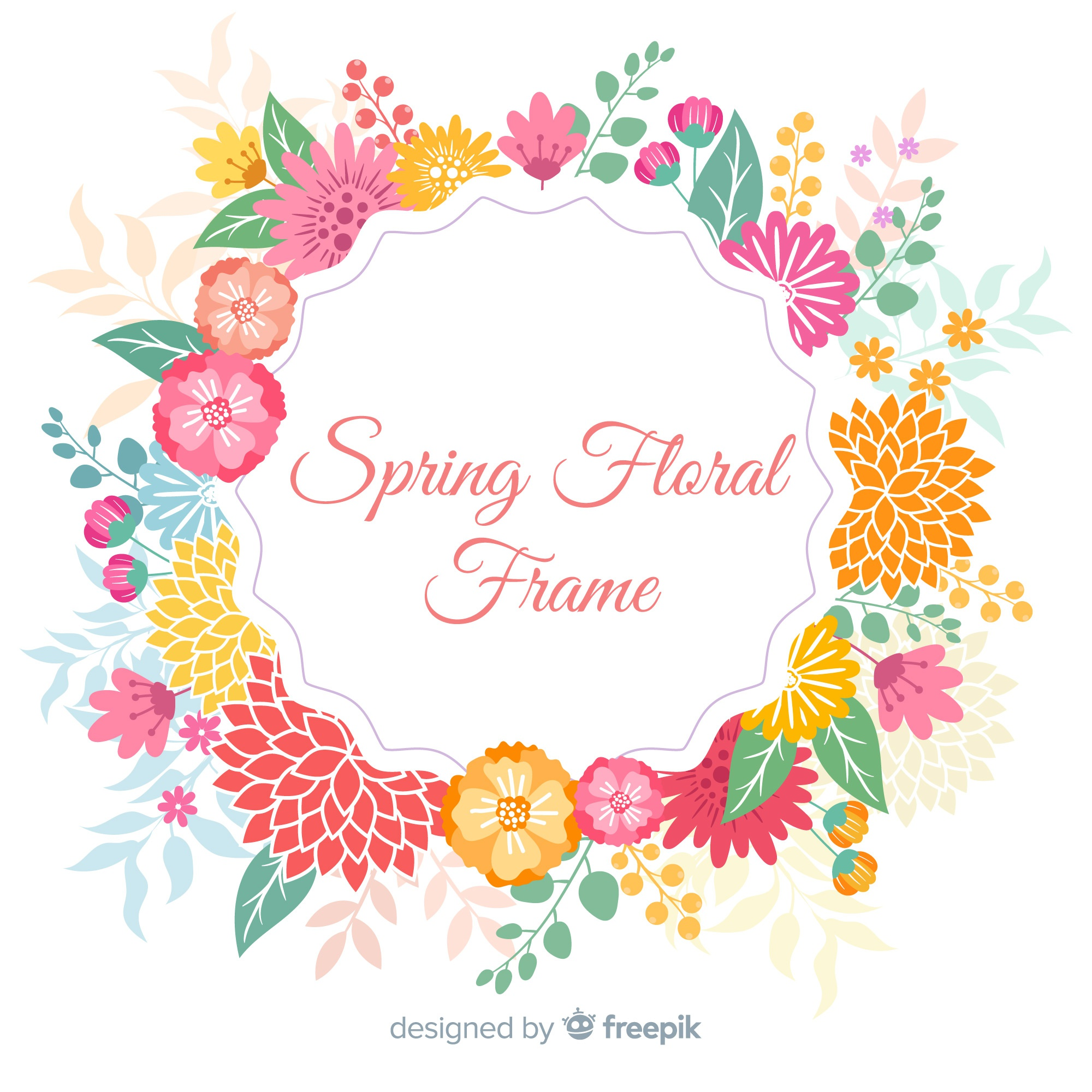 Colorful wreath spring background