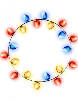 Colorful wreath of watercolor red, blue and yellow fairy lights