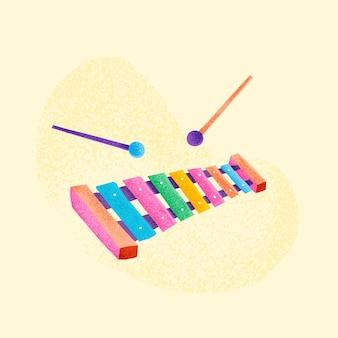 Illustrazione di strumento musicale adesivo colorato xilofono