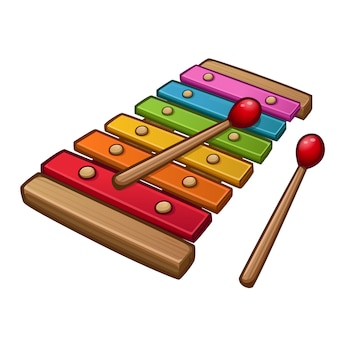 Colorful xylophone with sticks