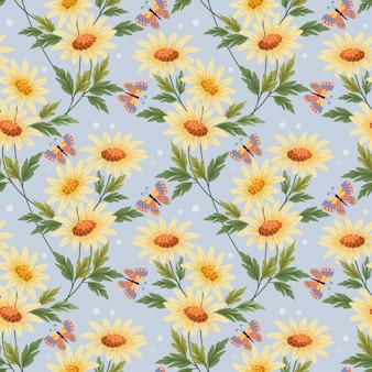 カラフルな黄色の花と蝶繊維の壁紙のためのシームレスなパターン。