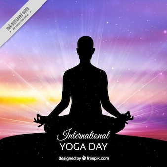 Colorful yoga day background