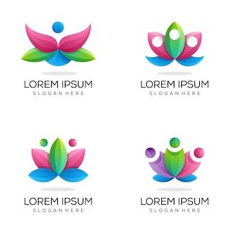 Набор красочных логотипов лотоса для йоги