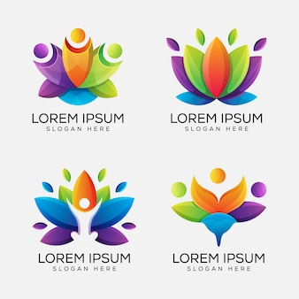 Colorful yoga lotus logo bundle