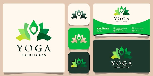Colorful yoga lotus pose in flower logo design template. health beauty spa logotype concept icon and business card design