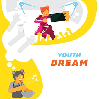 Colorful youth girl dream for singer star  background design
