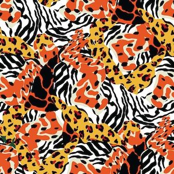 カラフルなゼブラスポットベクトルシームレスパターン。トレンディなレオデザイン。現代の毛皮の猫のイラストをミックスします。ジャングルヒョウアフリカの背景。