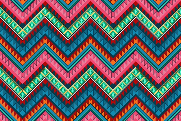 Colorful zigzag vintage aztec ethnic geometric oriental seamless traditional pattern. design for background, carpet, wallpaper backdrop, clothing, wrapping, batik, fabric. embroidery style. vector.