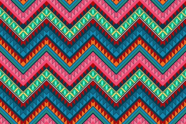 カラフルなジグザグヴィンテージアステカ民族幾何学的な東洋のシームレスな伝統的なパターン。背景、カーペット、壁紙の背景、衣類、ラッピング、バティック、ファブリックのデザイン。刺繡スタイル。ベクター。